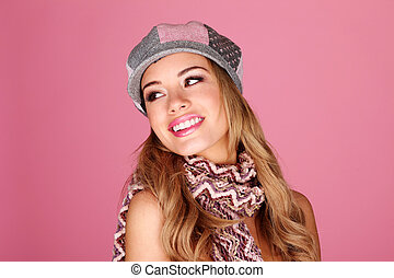 Fashion Model In Winter Accessories - Smiling fashion model...