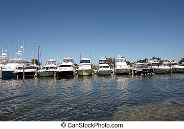 A row of luxury boats