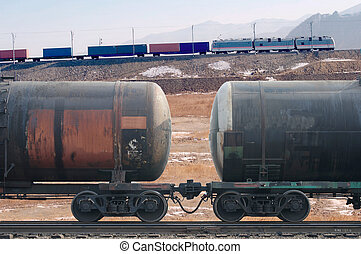 Freight train with cargo containers and tanks