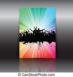 Party flyer - Illustration of a party crowd flyer layout