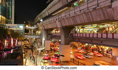 Timelapse - Bangkok Siam BTS Station on Sukhumvit Road