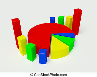 3d graph in different colors on a white background