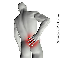 Man with back pain - 3D render of a man with back pain