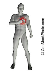 Man with chest pain - 3D render of a man with chest pain