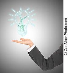 セービング, 指すこと, ライト, エネルギー, 緑, 電球, 選択肢, シンボル, 人