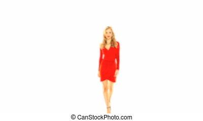 Girl In Red Dress Walking