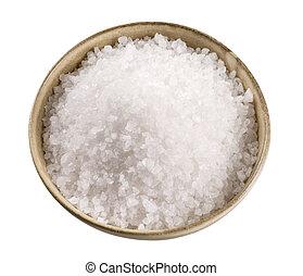 Sea salt in a ceramic bowl