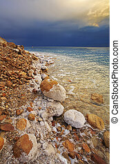 The Dead Sea in a spring thunder-storm - Coast of the Dead...