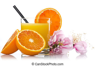 Orange juice and slices of orange on the white