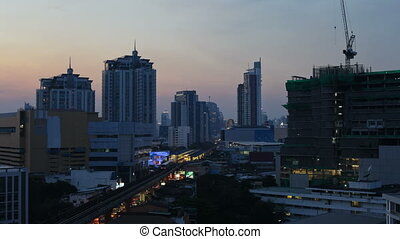 Time Lapse - Bangkok city at Sunset - Timelapse view of...
