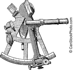 Sextant isolated on white, vintage engraving - Sextant...