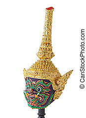 close up of Khon, traditional Thai giant mask, vertical