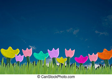 Flowers and Grass Plasticine - Color flowers made from...