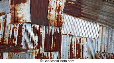 rusty steel panel - abstract old rusty galvanized and...