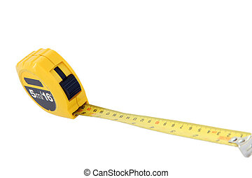 perspective of measuring tape for construction isolated on white