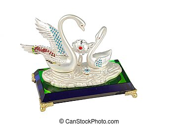 isolated of crystal couples swan for home decoration