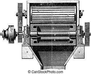 Malt beer making machine vintage engraving