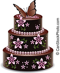 vector big chocolate cake with flowers and butterfly