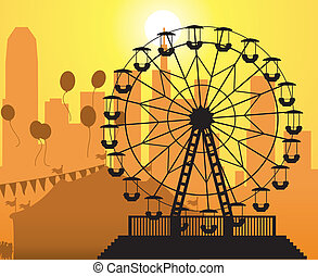 vector silhouettes of a city and amusement park with circus...