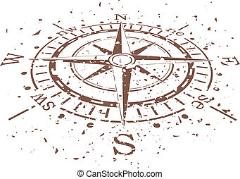 vector grunge compass - vector design of grunge compass