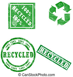 Green Recycled stamps