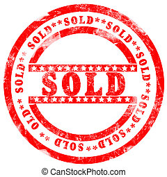 Red sold Stamp over white background