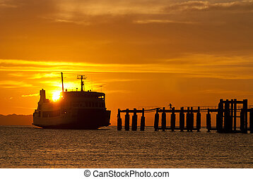 ferry boat to samui during sunset