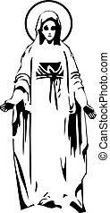 vecteur, vierge, marie, statue, silhouette