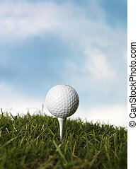 Golf Still Life - Golfball on a peg in the grass