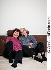 Senior couple - portrait at home