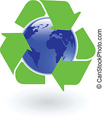 the vector blue world globe with recycling symbol