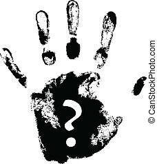 vector hand print with question mark