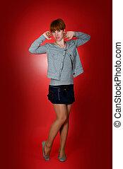 Pretty Girl model in short skirt