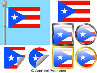 Flag Set Puerto Rico