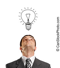 Businessman Looking Upwards - idea concept with businessman...