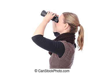 Woman with Binoculars from side