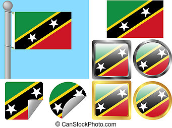 Flag Set Saint Kitts and Nevis