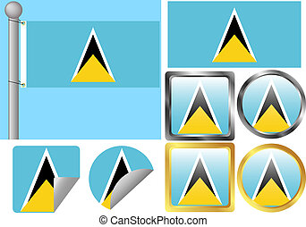 Flag Set Saint Lucia