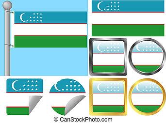 Flag Set Uzbekistan