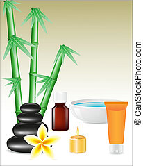 spa zen stones and bamboo vector illustration