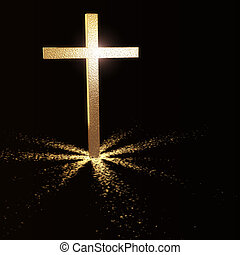 golden christian cross on dark background