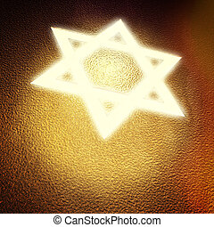 star od david - light star of david on golden cover