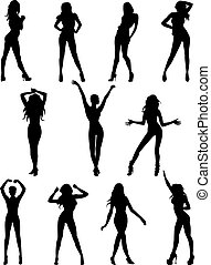 models - Isolated silhouettes of models. Vector...