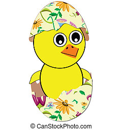 chicken hatch from easter egg - chicken hatch from colorful...