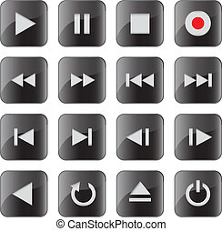 Multimedia control iconbutton set - Black glossy multimedia...