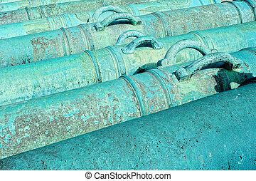 Cannons - Ancient French howitzer. Cast iron cannons in the...