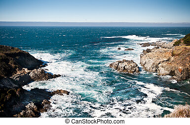 Pacific Coast Highway view - Pacific ocean and its rocky...