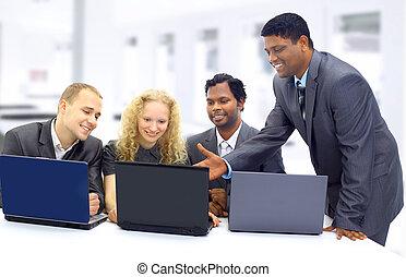 Interracial business team working - Interracial business...