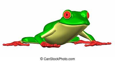 Green Frog - Illustration of a green frog isolated on a...