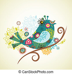 greeting card with bird